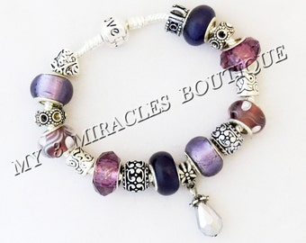 Purple Silver Plated Snake Chain Charm Bracelet European Style Murano Glass Beads Lampwork Plum Grape Teardrop Mothers Day Christmas Gift