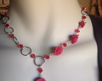 Polymer clay red roses and red crystal necklace and earrings