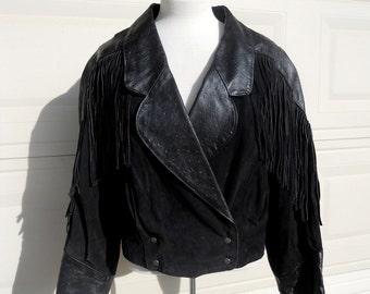 Vintage Leather Biker Jacket w/Fringe by Phoenix M-L