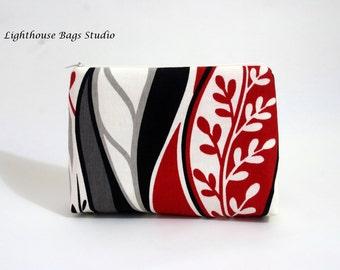 Large Wristlet Pouch w/ zipper - Neutral w red