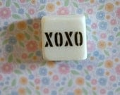 XOXO...small square stone magnet 3/4 x 3/4 cute inspirational gift favors fridge