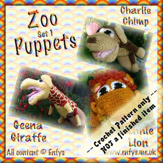 PDF Crochet Pattern Zoo Puppets Set 1