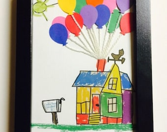 Custom 5x7 Disney's Up House (With Customized Names) FRAME NOT INCLUDED