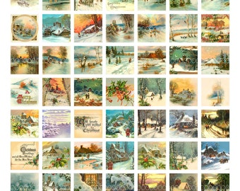 Digital Clipart, instant download, Vintage Christmas card images, Scenery, snow, sunset--Digital Collage Sheet (8.5 by 11 inches) 1880