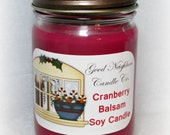 Cranberry Balsam Scented Soy Candle, Burgundy, Cotton Wick, It's the Holiday Candle You'll Love