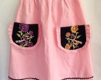 Pretty 1950s Pink and Black Apron With Ruffles and Rickrack