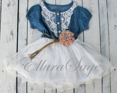 Denim Flower Girl Dress, Navy White Toddler Girl Tutu Dress, Vintage Dress, Western Cowgirl Dress, Rustic Flower Girl Dress, Country Wedding