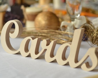 Wedding reception Cards Sign-  standing 'Cards' - Wooden Wedding Sign for Reception Decorations . Available unpainted, painted or glitter