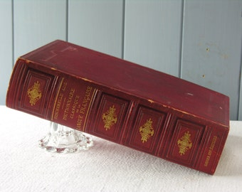 Big Splendid French Dictionary - French Leather Book - French Antique Book with Pictures - French Library