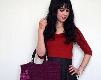 Ultra violet  bag // Purple  Crocheted Handbag Celebrity Style,Crochet winter  bag- shoulder bag- crochet bag-