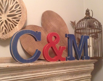 Wooden Freestanding Wedding Letters - Set of 3 - Hand-painted, Photo Props - various sizes and fonts