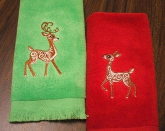 Embroidered Towels Christmas Set