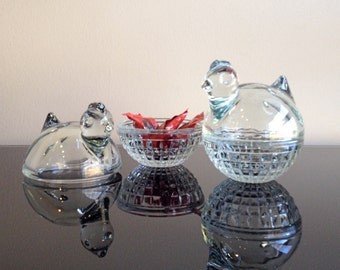 Anchor Hocking Glass Chicken / Hen Sitting on Nest Covered Trinket Dishes