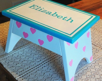 Step Stool or Foot Stool-White with Teal and Pink-Name Personalization and Hearts