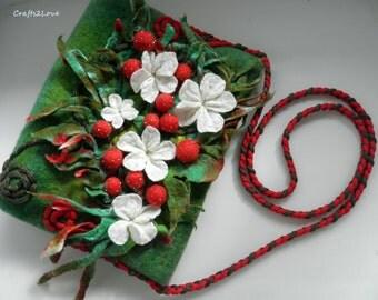 End of summer SALE felted Crossbody bag, Wet felted purse Strawberry,  OOAK Gadget case, Luxury gift, designer bag,  Messenger bag