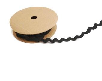Black Ric rac trim ribbon zig zag wavy craft ribbon by the yard nylon ribbon