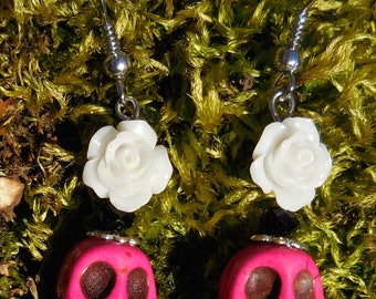Day of the Dead Pink Skull and White Rose Hook Earrings