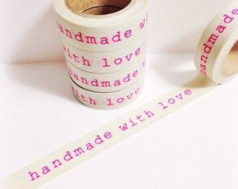 Grey With Neon Pink Handmade With Love Washi Tape 11 yards 10 meters 15mm Hot Neon Pink Typed Words Letters