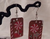 Upcycle earrings Christmas Yule candy fox robin peppermint recycled gift card jewelry