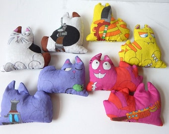 Allie Cats zombie fighting cats kitty bean bag dolls Nazi Zombies AU cheshire russian blue tabby japanese bobtail