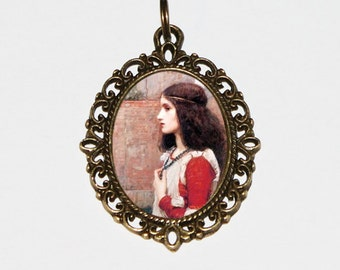 Juliet Necklace, Romeo And Juliet, John William Waterhouse, Shakespeare Jewelry, Oval Pendant