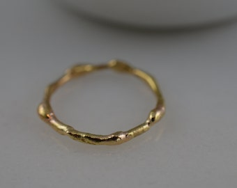 14k SOLID Gold Free Form Twig Ring