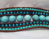 5 Rows Turquoise Beaded Leather Bracelet