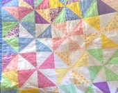 Handmade Pinwheel Baby Quilt - Blanket in Pink, Yellow, and Blue Pastels