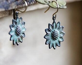 Patina Flower Earrings Verdigris Sunflower Earrings Floral Dangles Turquoise Earrings Nature Inspired - E265
