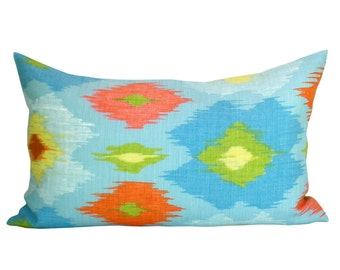 Thibaut Bimini Ikat lumbar pillow cover in Blue and Orange
