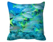 """School Crossing Caribbean Reef Fish Throw Pillow (Cover Only) 14"""" x 14"""", 16"""" x 16"""", 18"""" x 18"""", 20"""" x 20"""", 26"""" x 26"""""""