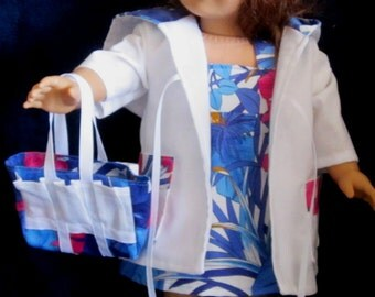 """Bright Blue & Pink Tropical  Print Sundress, Coat and Tote Bag Fits  American Girl or Similar 18"""" Dolls"""