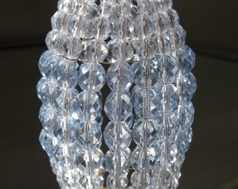 Small Faceted Ice Blue, Beaded Light Bulb Cover, Chandelier Shade, Sconce Shade, Candelabra Lighting, Beaded Lamp Shade