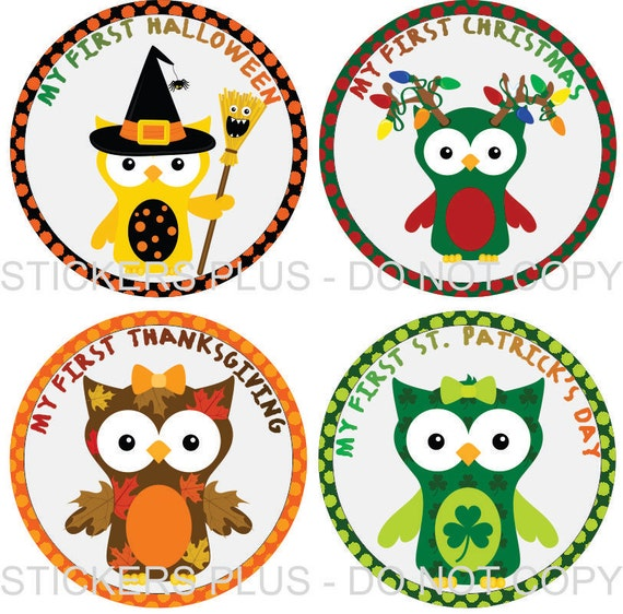 Baby Girl First Birthday Holidays Milestone Stickers - Owls Christmas 1st Birthday Halloween Easter Thanksgiving and More