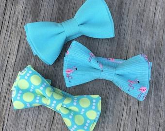 flamingo bow tie - Aqua Blue bow tie - Easter Tie - Summer Wedding - Summer bow tie - ring bearer bow tie - blue bow tie - ties