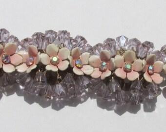 Vintage Bracelet Pink Enamel Flowers w AB Rhinestones and Dangles