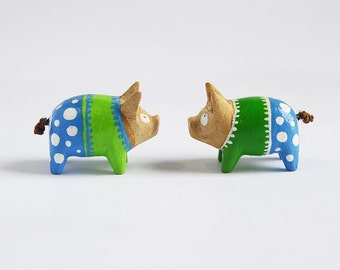 Set of  Two Wooden Pigs