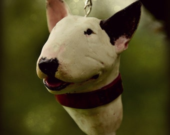 English bullterrier -  XL keychain made from a photo