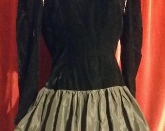 Lillie Rubin Black Velvet Rhinestone Formal holiday dress 80s vintage party dress fancy