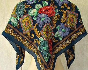 vintage 80s multi color floral silk scarf jacqueline ferrar hand rolled 30 x 31