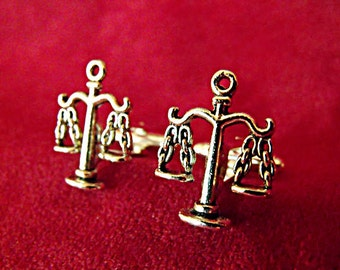 Mens Cufflinks,  Silver Scales of Justice Libra Sign Lawyer Mens Accessories Handmade
