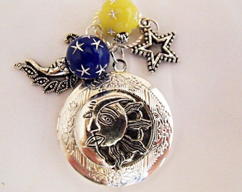 Silver Locket Necklace,     Celestial Cosmic Sun And Moon With Chams And Beads Womens Gift