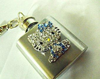 Flask,   Rhinestoned Kitty Mini Keychain Flask 1 Ounce Flask for Womens  Handmade