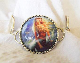 Silver Spoon Bracelet,  Vintage Mermaid Glass Pendant, Womens Gift Handmade