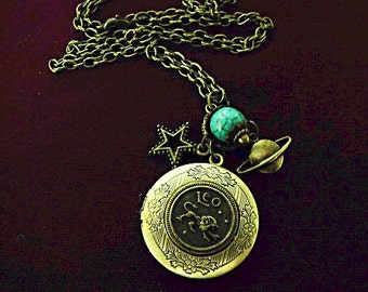 Bronze Locket Necklace,  Zodiac Symbol Leo With Turquoise Beads And Charms  Womens Gift