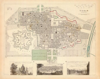 1833 Map of Turin, Italy