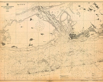 1919 Nautical Chart of Key West Harbor