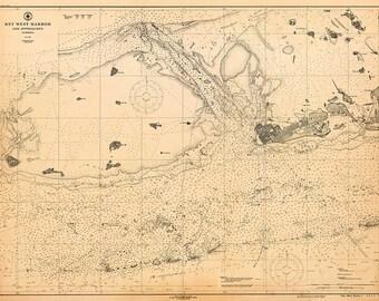 1919 Nautical Chart of Key West Harbor