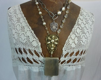 ANTIQUE CARD HOLDER  Locket vintage antique double wrap assemblage necklace
