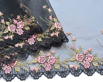 Pink Roses Lace Trim, Black and Pink Floral Lace Trim, Double Edged, Wide Lace Trim, Pink and Black Lace